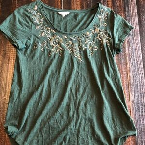 lucky brand gold embroidered tee